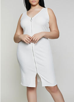 Plus Size Rib Knit Zip Front Dress - 0390058753943