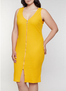 Plus Size Rib Knit Zip Front Dress - 0390058753943