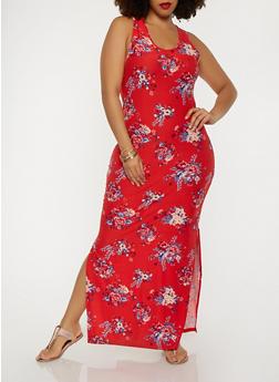 Plus Size Floral Tank Maxi Dress - 0390060583140