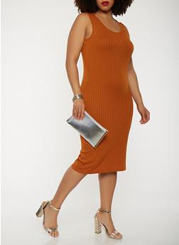 Plus Size Ribbed Knit Midi Tank Dress - 0390061636599