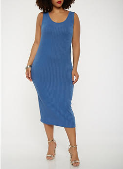 Plus Size Ribbed Knit Midi Tank Dress - 0390061636599