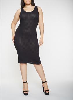 Plus Size Midi Tank Dress - BLACK - 0390061637599
