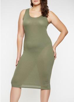 Plus Size Midi Tank Dress - 0390061637599