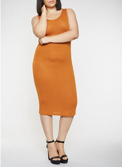 Plus Size Midi Tank Dress - 0390061637599