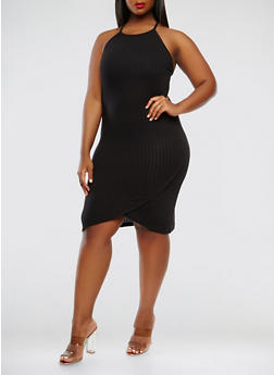 Plus Size Rib Knit Midi Tank Dress - BLACK - 0390061639658