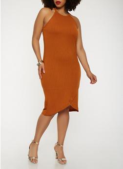 Plus Size Rib Knit Midi Tank Dress - 0390061639658