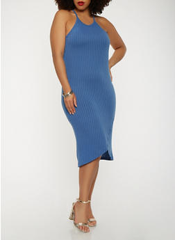 Plus Size Rib Knit Midi Tank Dress - 0390061639658
