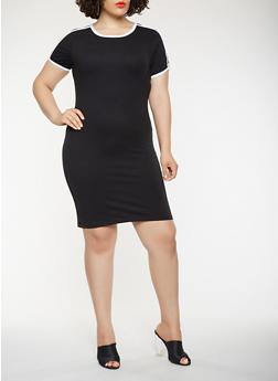Plus Size Varsity Stripe T Shirt Dress - 0390061639664