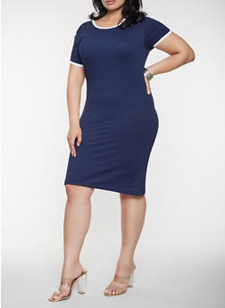 Plus Size Varsity Stripe T Shirt Dress - 0390061639664