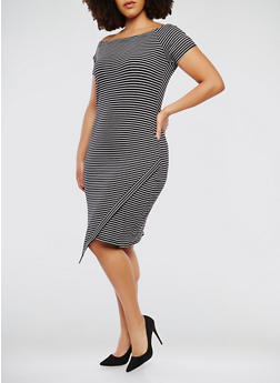 Plus Size Striped Off the Shoulder Dress - 0390061639665