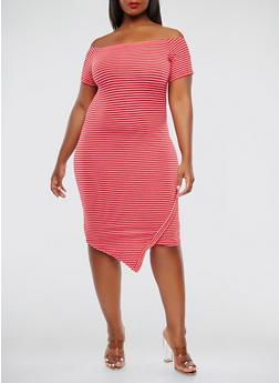 Plus Size Striped Off the Shoulder Dress - 0390061639665