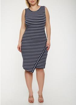 Plus Size Striped Tank Dress - 0390061639668