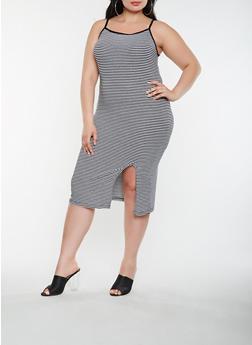 Plus Size Striped Tank Dress - 0390061639669