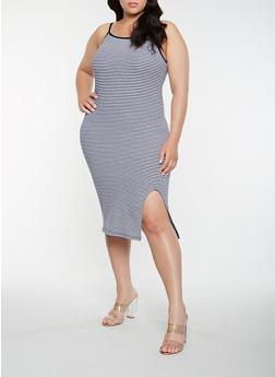 Plus Size Striped Tank Dress - WHITE/BLUE - 0390061639669