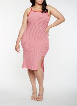 Plus Size Striped Tank Dress - WHITE/RED - 0390061639669