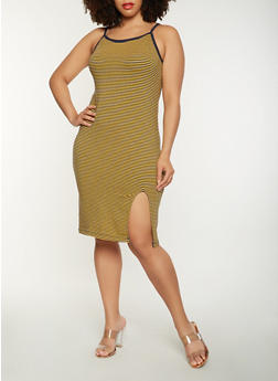 Plus Size Striped Tank Dress - 0390061639669