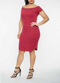 Plus Size Off the Shoulder T Shirt Dress - 0390061639671