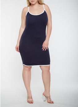 Plus Size Contrast Trim Tank Dress - 0390061639674