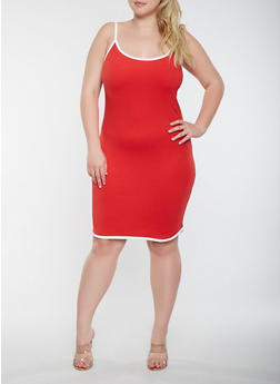 Plus Size Contrast Trim Tank Dress - 0390061639674