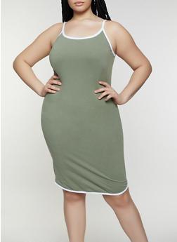 Plus Size Contrast Trim Midi Cami Dress - 0390061639742