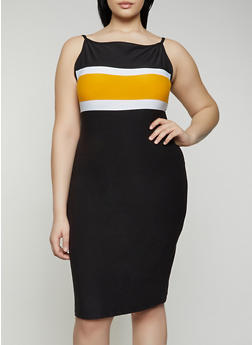 Plus Size Stripe Detail Cami Dress - 0390061639744