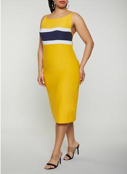 Plus Size Stripe Detail Cami Dress - 0390061639744