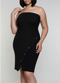 Plus Size Ribbed Tube Dress - 0390062122878