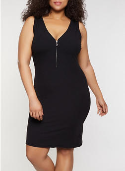 Plus Size Zip Neck Tank Dress - 0390062126192