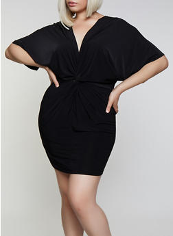 Plus Size Knot Front Bodycon Dress - 0390062128000
