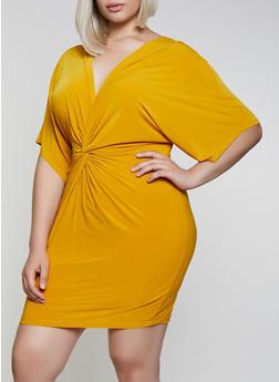 Plus Size Knot Front Bodycon Dress - 0390062128000