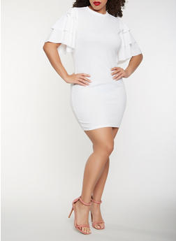Plus Size Tiered Sleeve Bodycon Dress - WHITE - 0390062128600