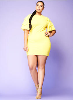 Plus Size Tiered Sleeve Bodycon Dress - 0390062128600