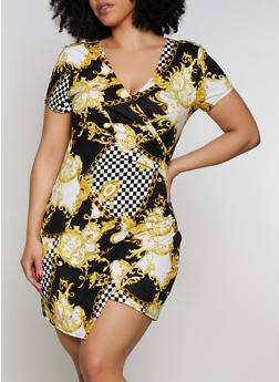 Plus Size Checkered Status Print Faux Wrap Dress - 0390069390240