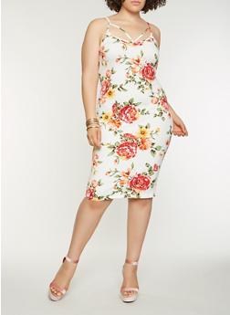 Plus Size Floral Midi Bodycon Dress - IVORY - 0390069393888