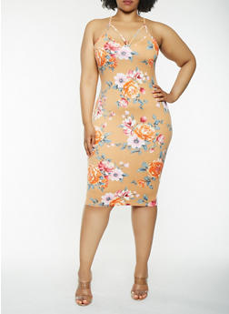 Plus Size Floral Midi Bodycon Dress - 0390069393888