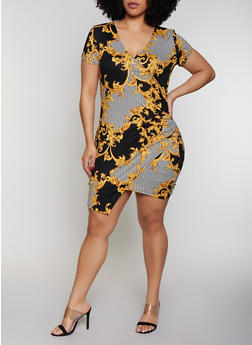 Plus Size Striped Status Print Faux Wrap Dress - 0390069394240