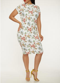 Plus Size Floral Midi Bodycon Dress - 0390069394889