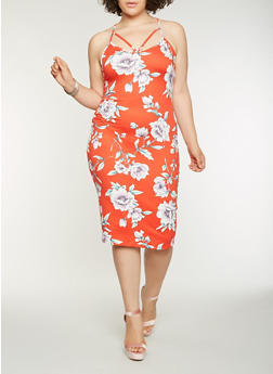 Plus Size Printed Bodycon Dress - RED - 0390069395888