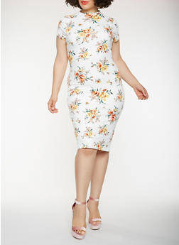 Plus Size Printed Midi Bodycon Dress - 0390069395889