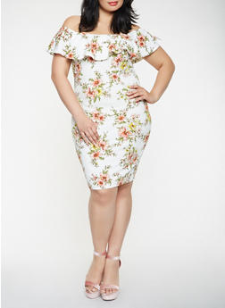 Plus Size Floral Off the Shoulder Dress - 0390069395890