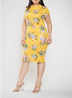 Plus Size Floral Bodycon Dress - 0390069396889