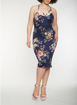 Plus Size Caged Neck Floral Tank Dress - 0390069397888