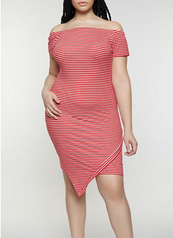 Plus Size Striped Off the Shoulder Asymmetrical Dress - 0390073372004