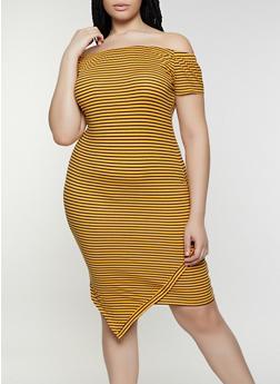 Plus Size Striped Off the Shoulder Asymmetrical Dress - 0390073372004