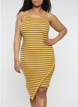 Plus Size Soft Knit Striped Cami Dress - 0390073372005