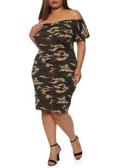 Plus Size Camo Off the Shoulder Dress - 0390073372051