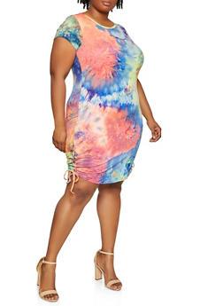 Plus Size Lace Up Side Tie Dye Dress - 0390073372237