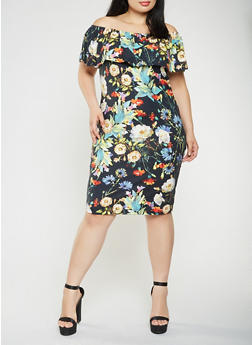Plus Size Printed Off the Shoulder Midi Dress - BLACK - 0390073372278