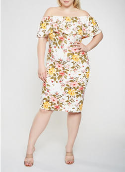 Plus Size Printed Off the Shoulder Midi Dress - 0390073372278