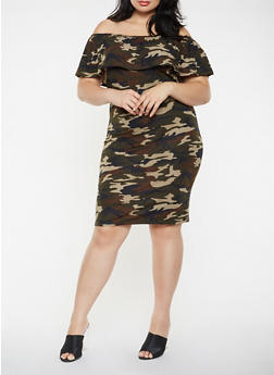 Plus Size Printed Off the Shoulder Midi Dress - GREEN - 0390073372278